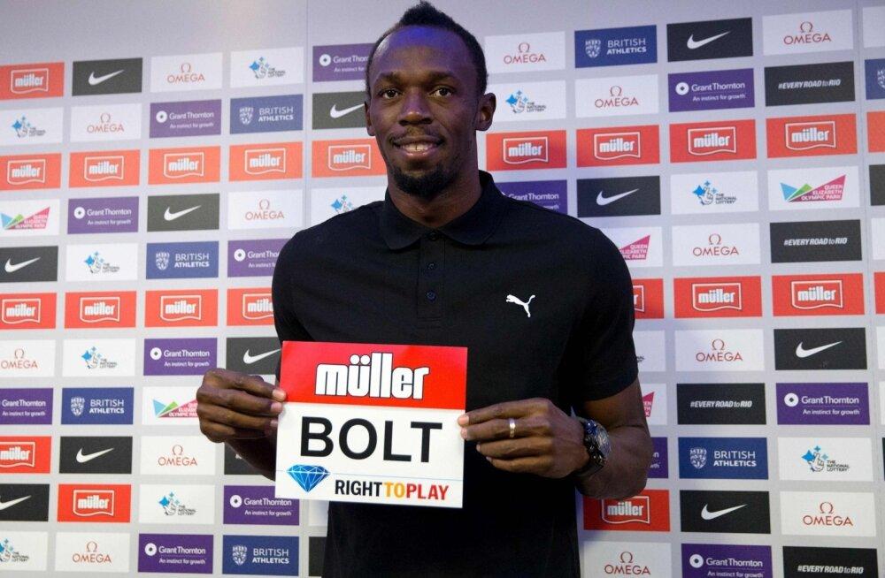 Usain Bolt Londoni Teemantliiga etapi pressikonverentsil