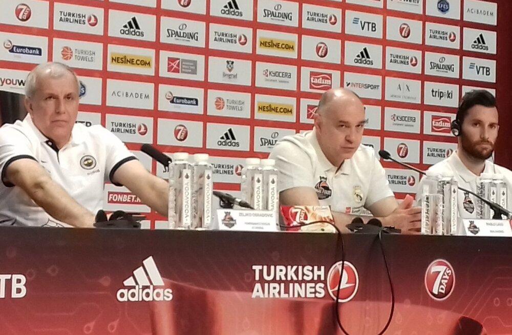Euroliiga finaali eelne pressikonverents, vasakult Željko Obradovic, Pablo Laso, Rudy Fernandez