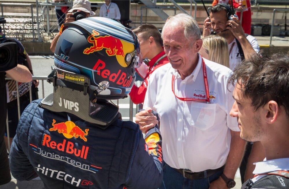 Jüri Vipsi tuli Austrias debüütvõidu eest õnnitlema Red Bulli noortetiimi pealik Helmut Marko isiklikult.