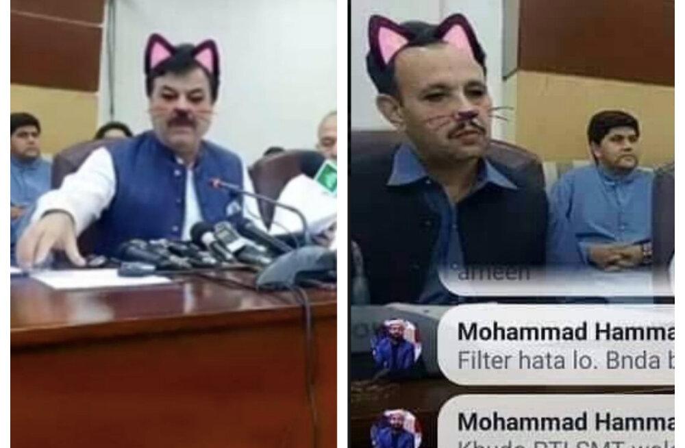 NALJAKAS KLÕPS   Tegijal juhtub! Pakistani valituse istungist tehtud ülekandes istusid kogemata saalis kassid