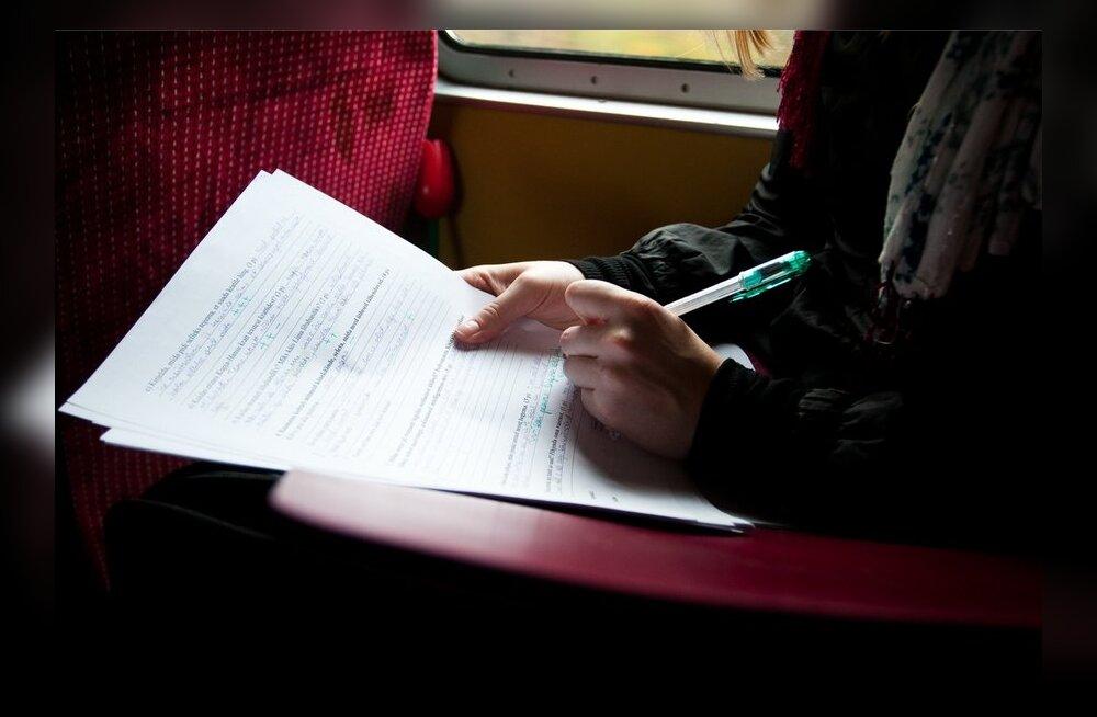 Iiris Oosalu rongis töötamas