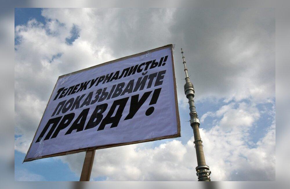 FOTOD: Putini-vastased kogunevad Ostankino teletorni juurde