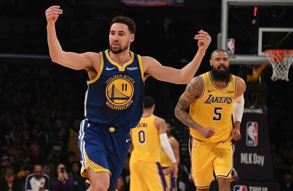 Klay Thompson küttis Los Angeles Lakersi korvi kuumaks.