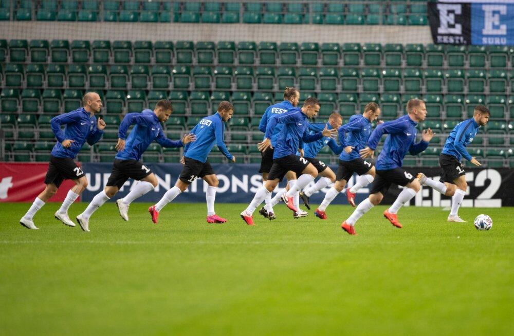 Eesti koondis enne Gruusiaga mängu