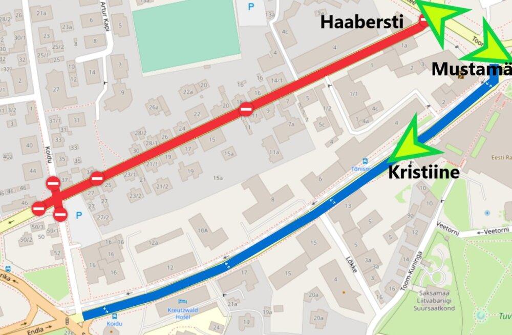 Ehitus peatab liikluse Luise tänaval Tallinnas
