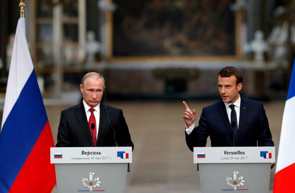 Macron mõistis pressikonverentsil Putiniga hukka Vene meedia