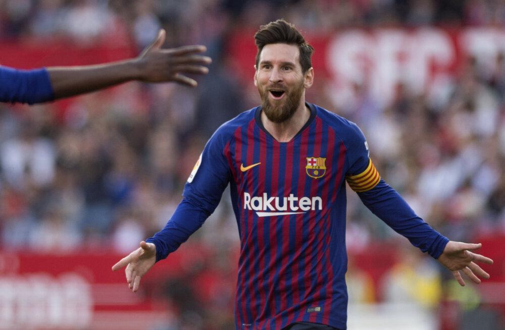 Kahel korral kaotusseisu jäänud Barcelona sai Messi karjääri 50. kübaratriki abil väärtusliku võidu