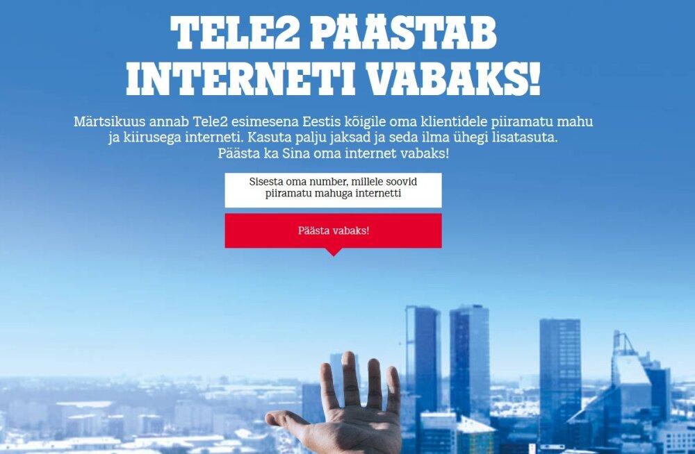 Tele2 mobiilse interneti kasutajatel märtsis mahu- ega kiiruspiiranguid pole