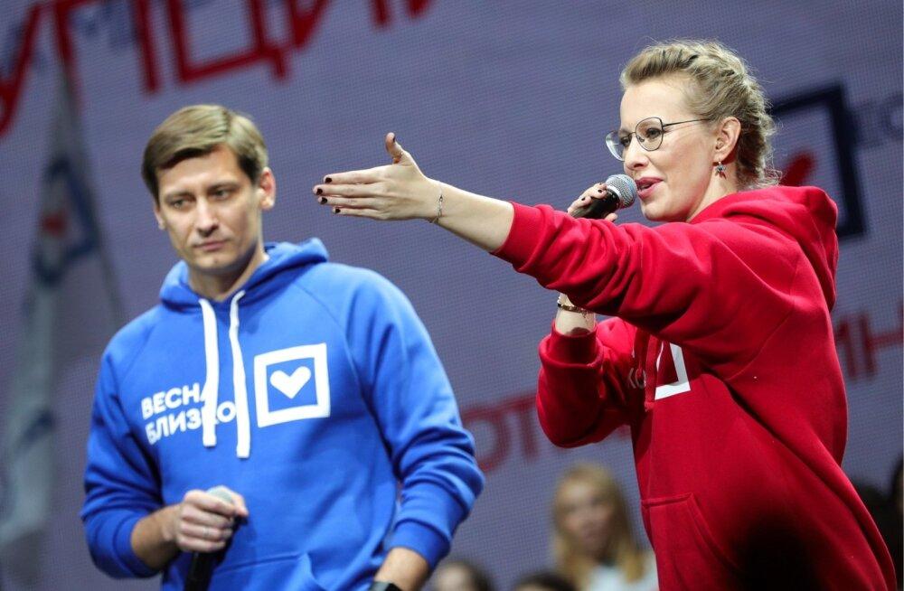 Presidendikandidaat Ksenia Sobtšak ja Dmitri Gudkov moodustavad koos Putini-vastase partei