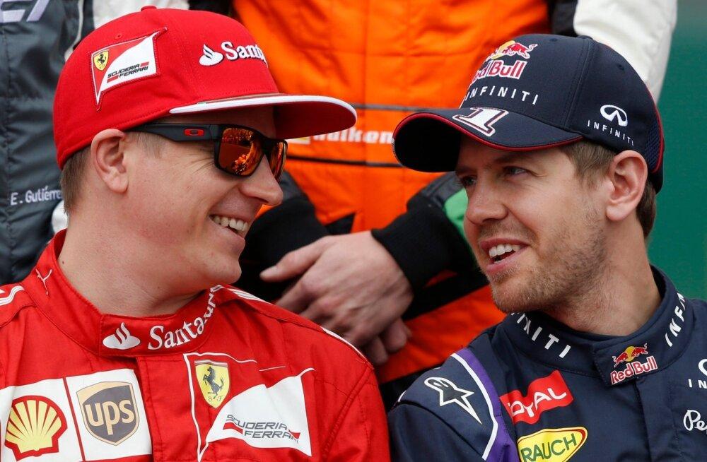 Kimi Räikkönen ja Sebastian Vettel