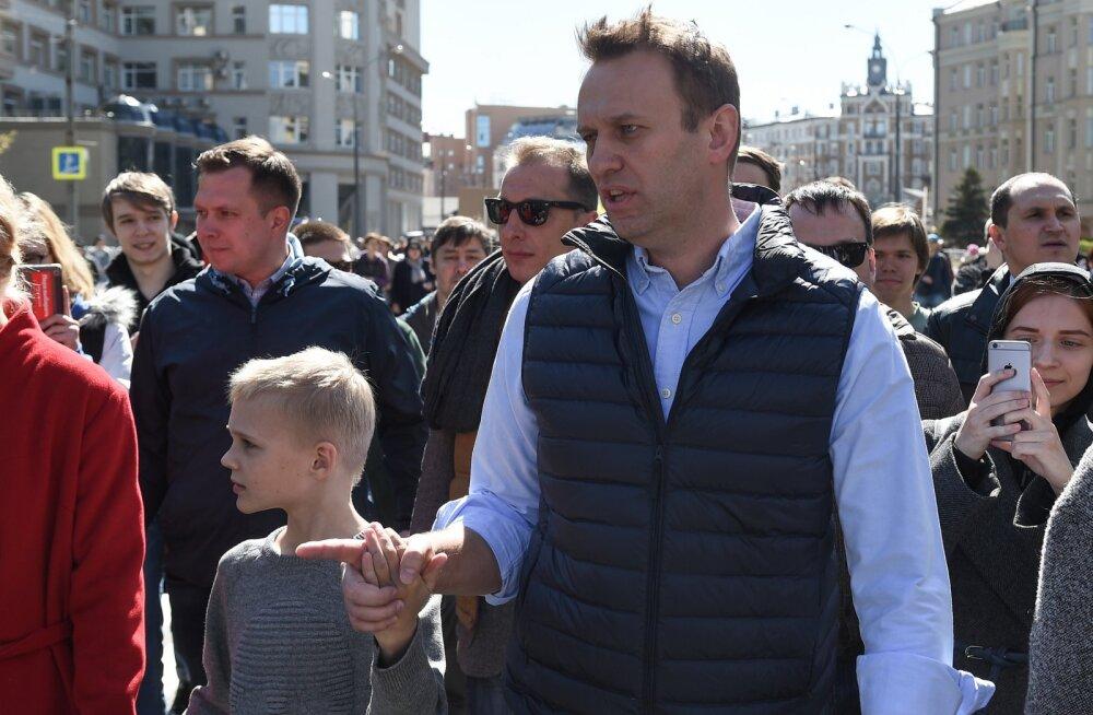 Алексей Навальный на митинге в Москве