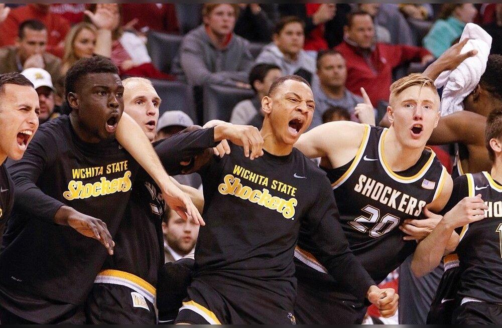 Wichita State Shockersi mängijad juubeldamas