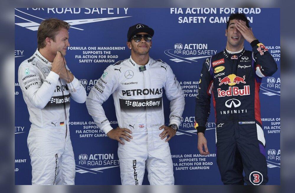 Esikolmik Hamilton, Rosberg ja Ricciardo