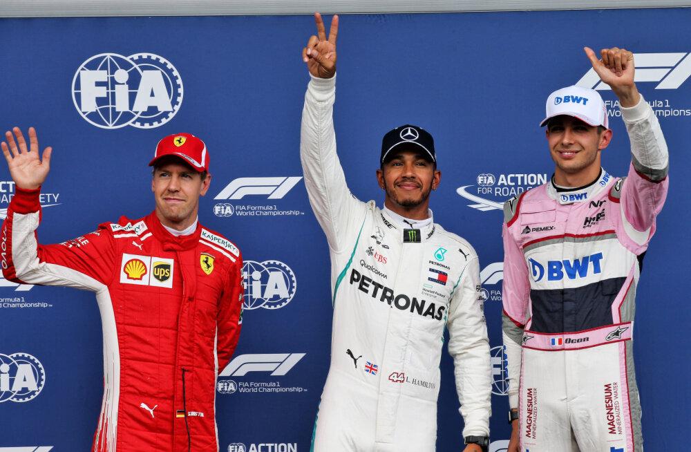 Sebastian Vettel, Lewis Hamilton ja Esteban Ocon