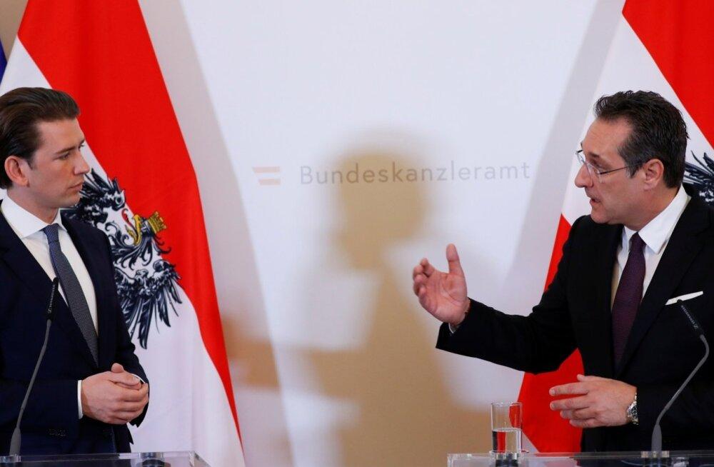 Austria asekantsler Heinz-Christian Strache (paremal) peab nägema, kuidas kantsler Sebastian Kurz tema kulul toetust kasvatab.