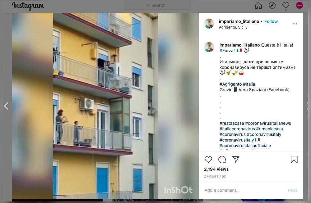 VIDEOD   Itaallased võtavad koduarestist maksimumi — inimesed mängivad rõdudel muusikat, paarid tantsivad...