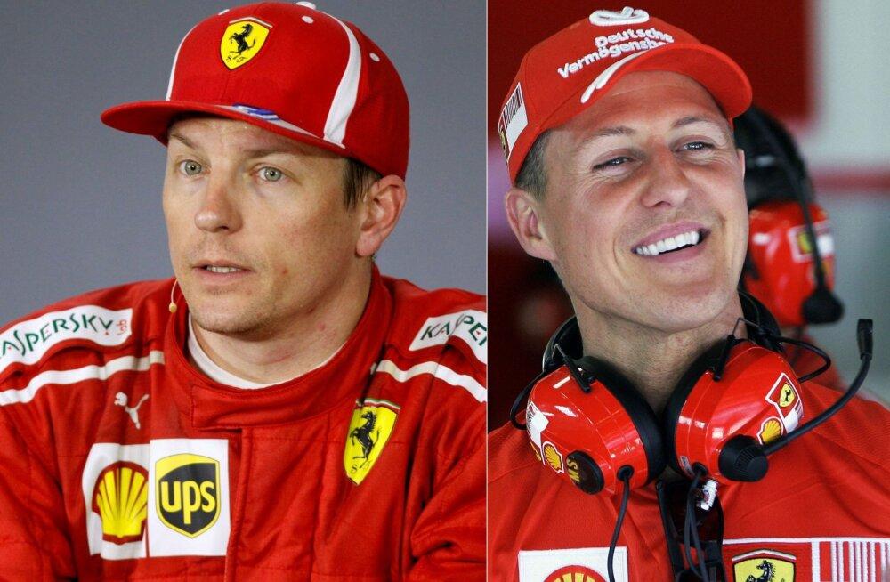 Kimi Räikkönen ja Michael Schumacher