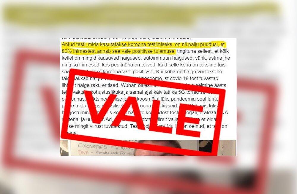 Valeinfo | Väited koroonatestide massilistest valepositiivsetest tulemustest ei pea paika