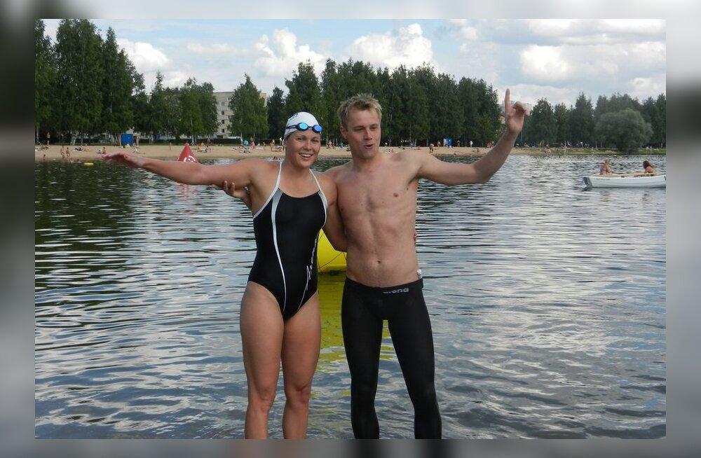 Andres Olvik ja Julia Kurbat, avaveeujumine