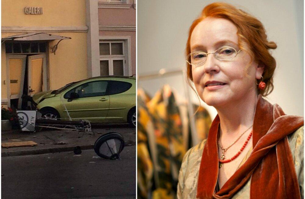 FOTOD: Auto kihutas varahommikul Epp Maria galerii uksest sisse ja juht põgenes