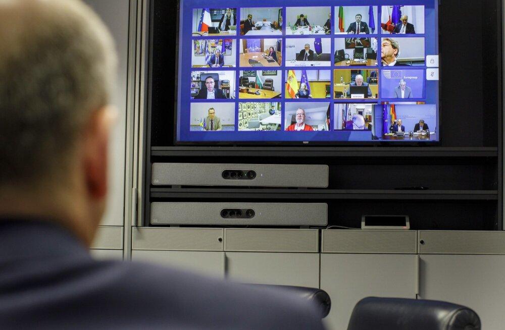 Saksamaa rahandusminister Olaf Scholz euroala rahandusministrite eelmisel videokohtumisel.