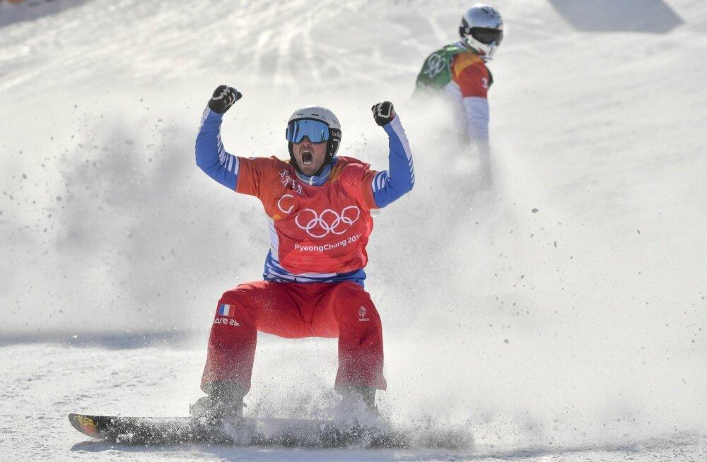 Pierre Vaultier Pyeongchangi olümpial võitjana finišis.