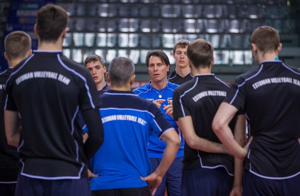 Eesti võrkpallikoondise treening Palavela Arenal Torinos