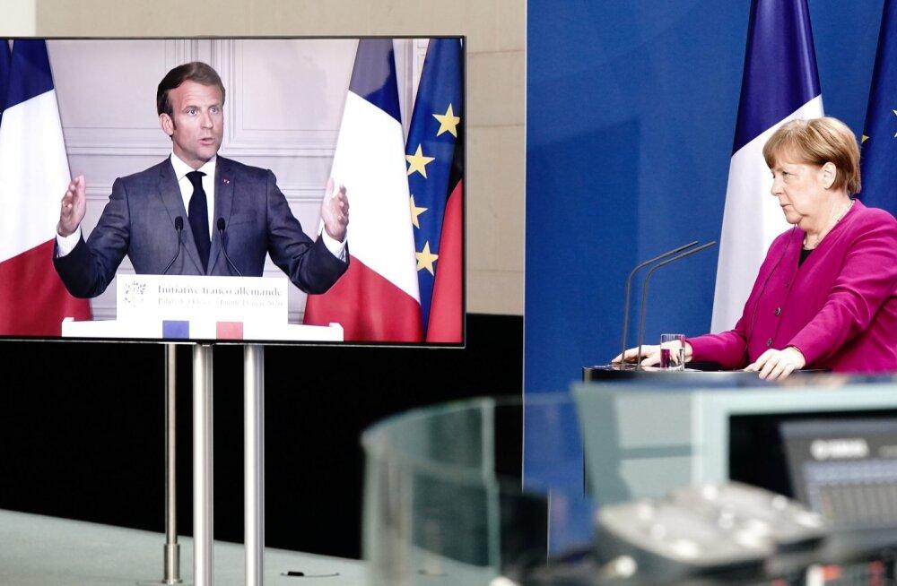 Saksamaa kantsleri Angela Merkeli ning Prantsusmaa presidendi Emmanuel Macroni ühine  videopöördumine.