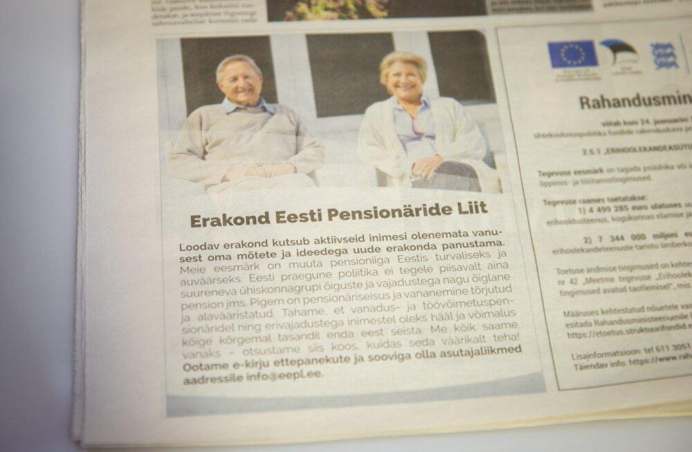 Salapärane uus poliitjõud: loomisel on erakond Eesti Pensionäride Liit