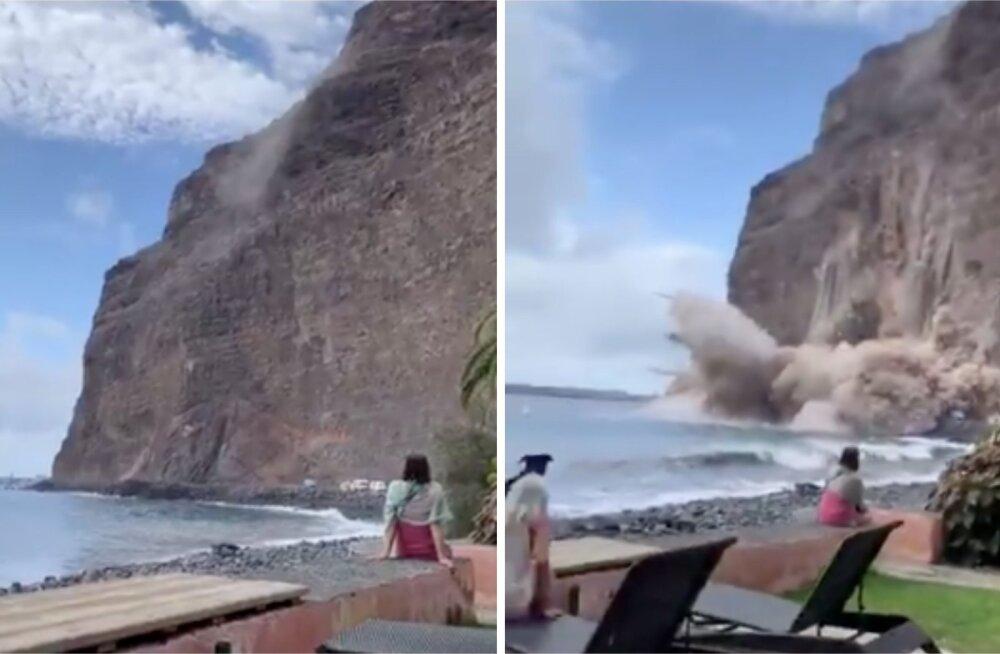 ВИДЕО | На туристический пляж на Канарских островах обрушилась скала