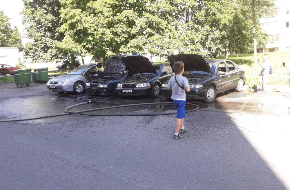 ФОТО И ВИДЕО: В Таллинне загорелись припаркованные во дворе дома машины
