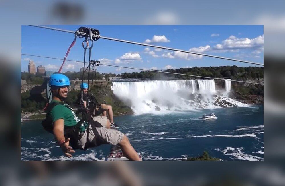 Над Ниагарским водопадом провели канатную дорогу