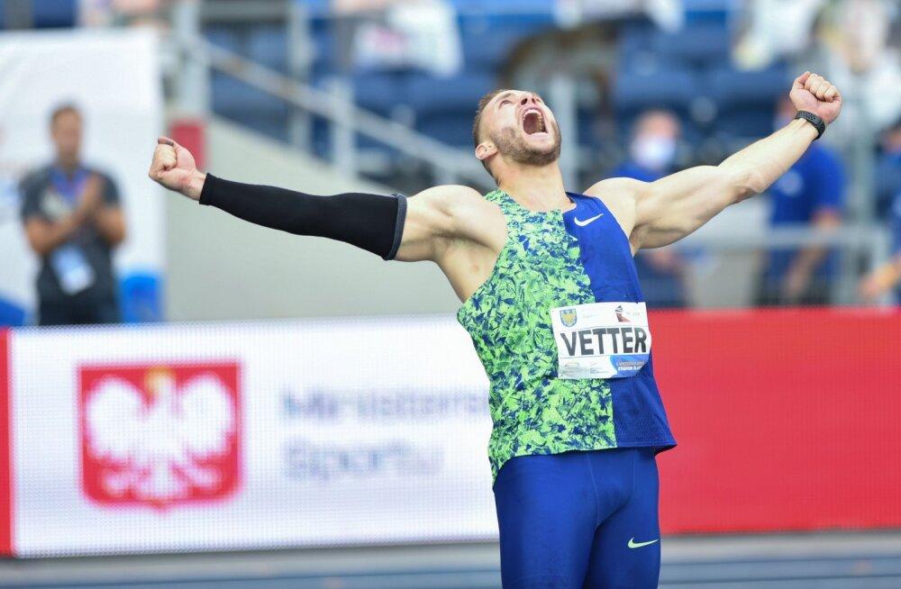 VIDEO | Johannes Vetter viskas kõigi aegade teise tulemuse, maailmarekord jäi vähem kui meetri kaugusele