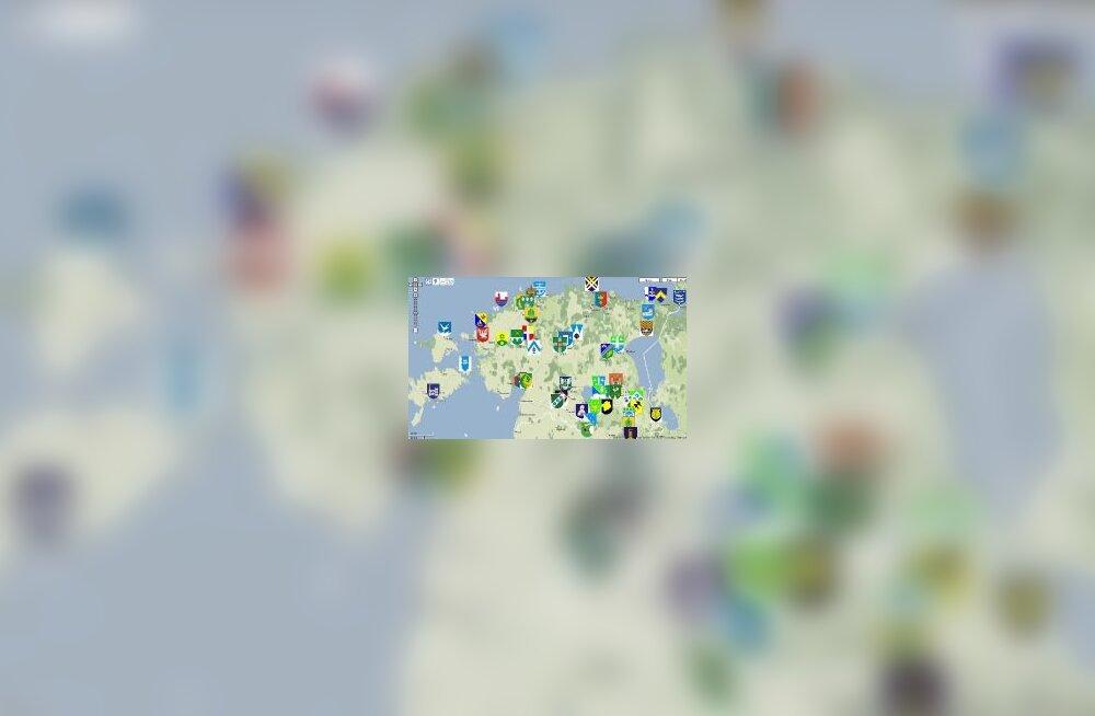 kaart, omavalitsused, vapid