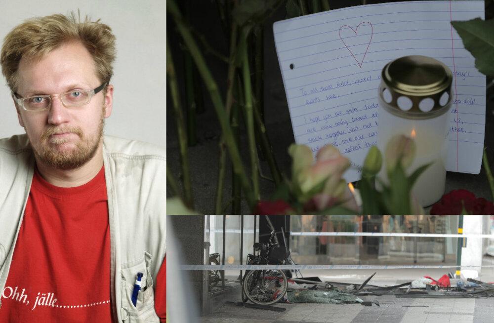 Luuletaja Contra koos pojaga Stockholmi terrorirünnaku sündmuste keerises: surmaauto liikus meie suunas