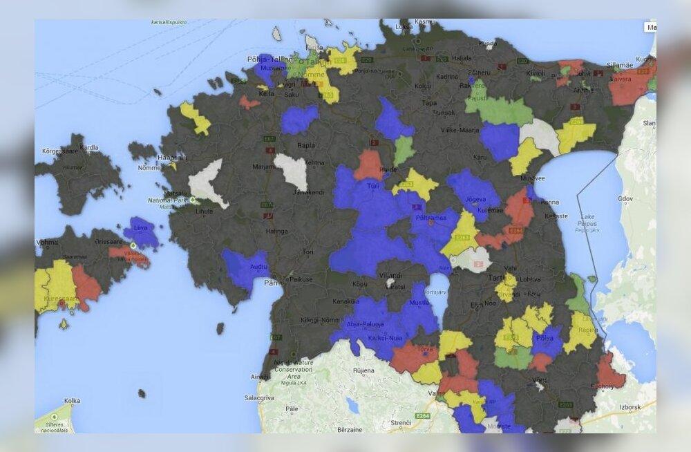 8edbc1a3dd2 Interaktiivne kaart: maapiirkondades võidutsesid valimisliidud - DELFI