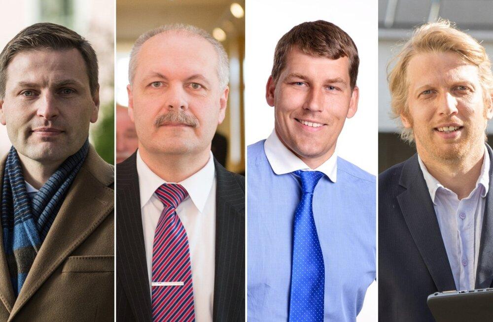 Hanno Pevkur, Henn Põlluaas, Andres Metsoja ja Jaanus Karilaid