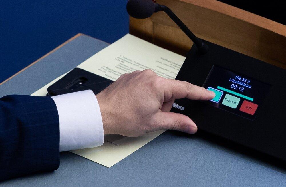 Pensionireformi hääletamine riigikogus.