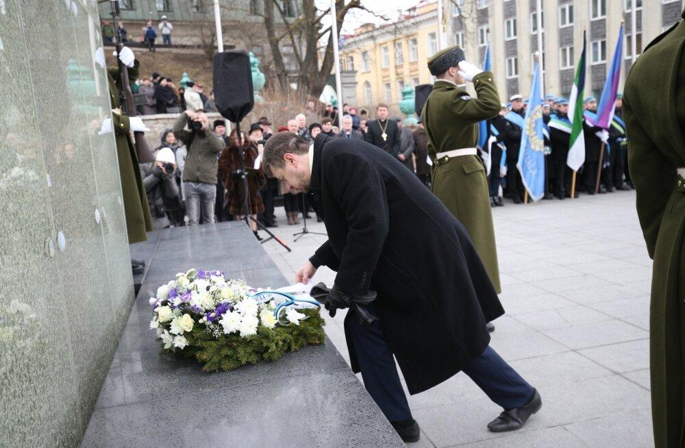 Märtsiküüditatute mälestamine Vabadussõja võidusamba juures
