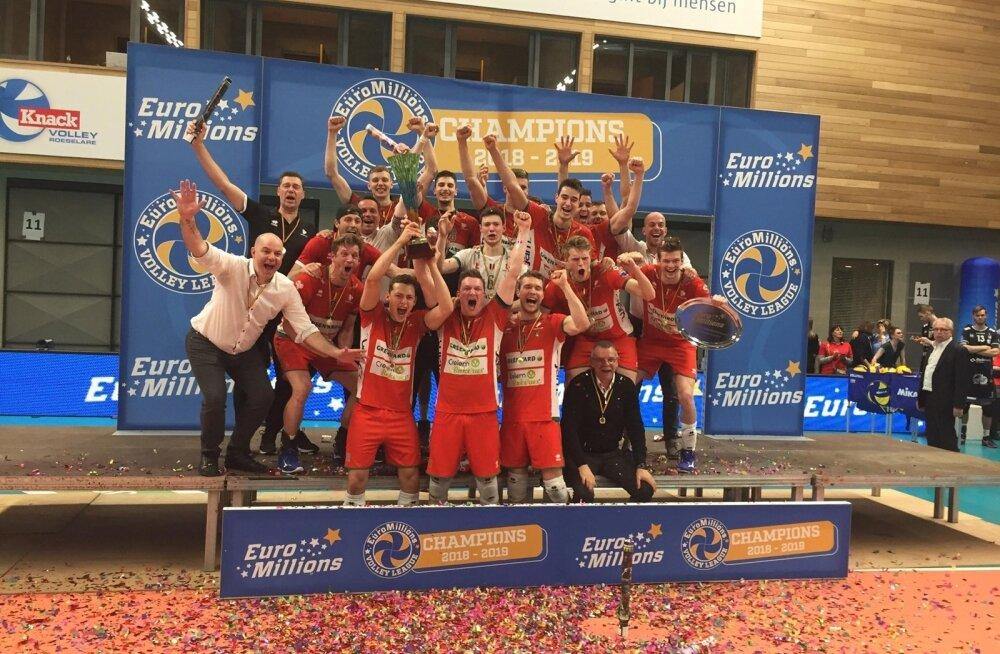 Eestlaste värskeim triumf: Belgia meistritena juubeldavad tagareas ka Timo Tammemaa, Keith Pupart ja Andri Aganits.