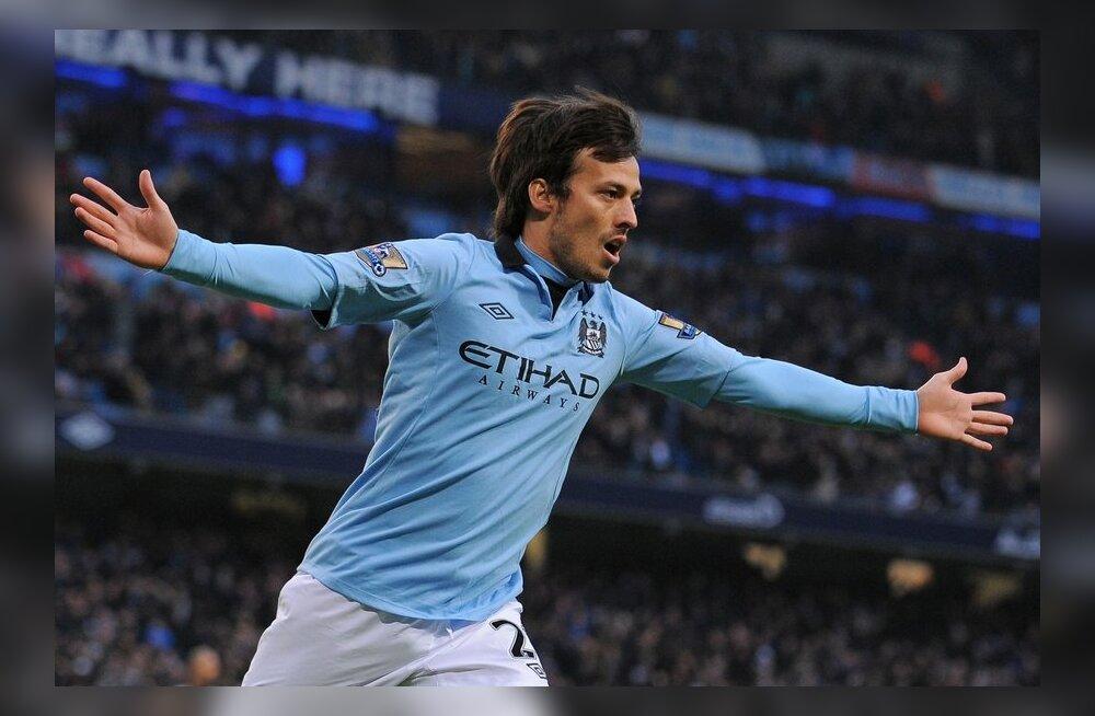 Silva kaks väravat aitasid Man Cityl Unitediga vahet vähendada