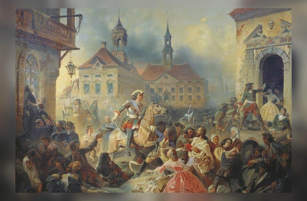 Ajalooline maal Peeter Esimesest aastal 1704 Narva vallutamist juhtimas