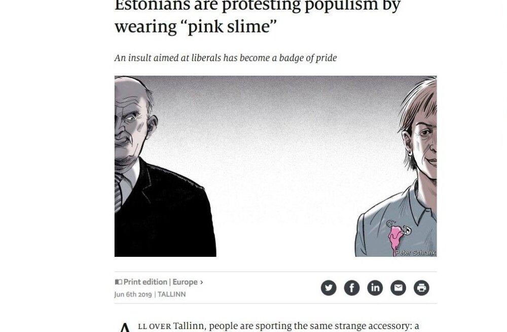 "The Economist: эстонцы протестуют против популизма с помощью ""розовой слизи"" на груди"