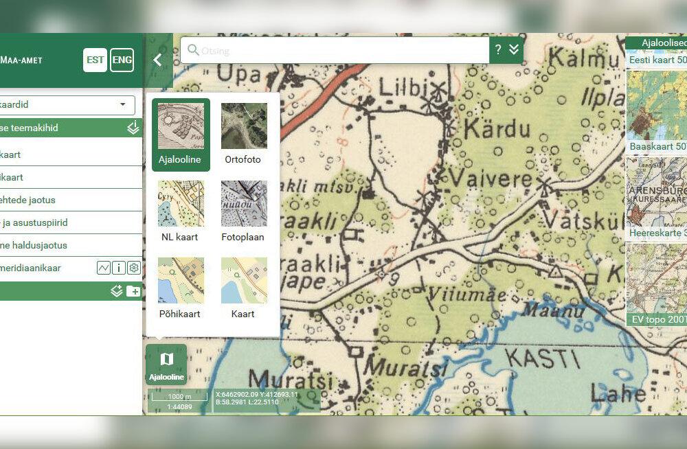Ajas rändamine on nüüd mugavam: Maa-amet uuendas ajalooliste kaartide rakendust
