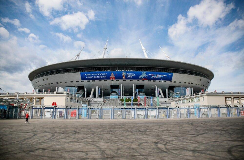Melu Peterburi staadionil Venemaa-Egiptuse mängu eel ja ajal