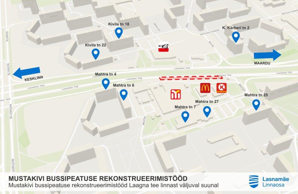 В Ласнамяэ приступят к расширению автобусной остановки Мустакиви