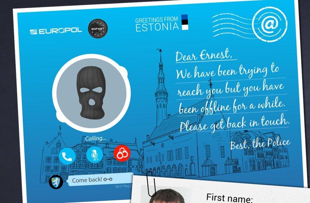 Europol meelitab tagaotsitumaid kurjategijaid koju postkaartidega: Eesti ootab Skype'i-teemalise kaardiga Ernest Gammerit