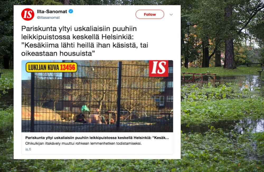 Stardipauk suvele Soome moodi! Helsingis ronis paarike päise päeva ajal mänguväljakule vanainimeste asja ajama