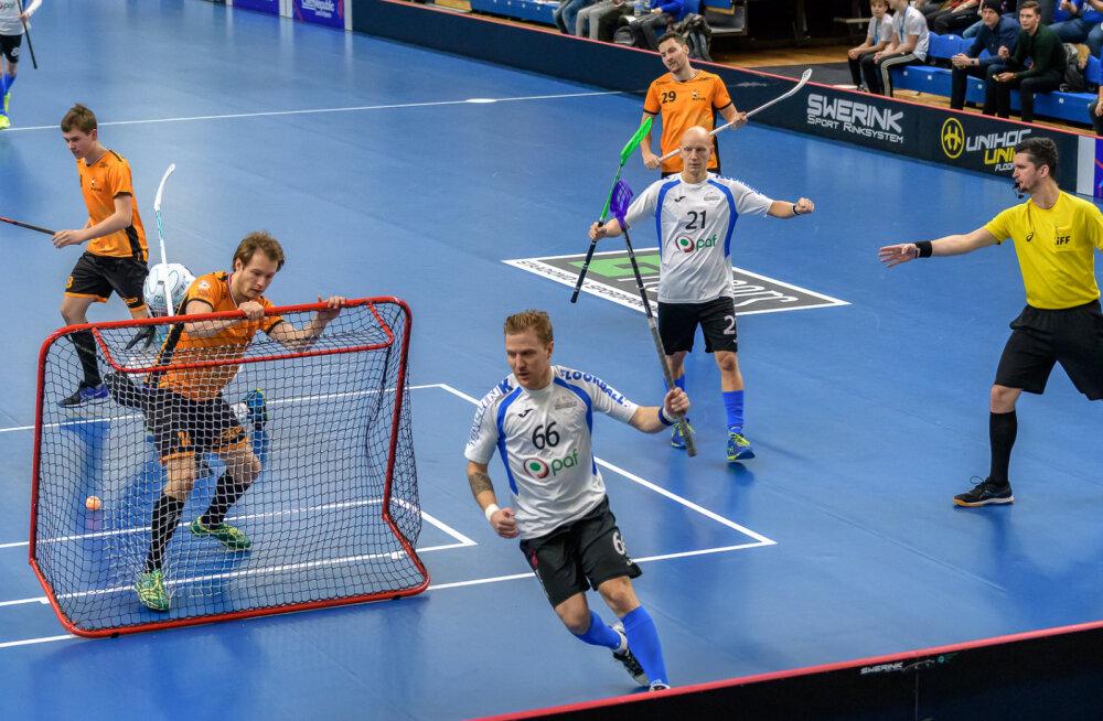 VIDEO | Võit Hollandi üle hoiab Eesti saalihokikoondist MM-finaalturniiri kursil