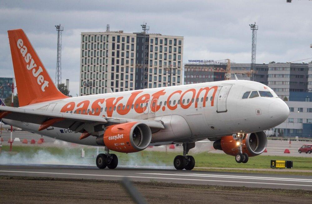 Easyjeti lennuk Tallinna lennujaamas.